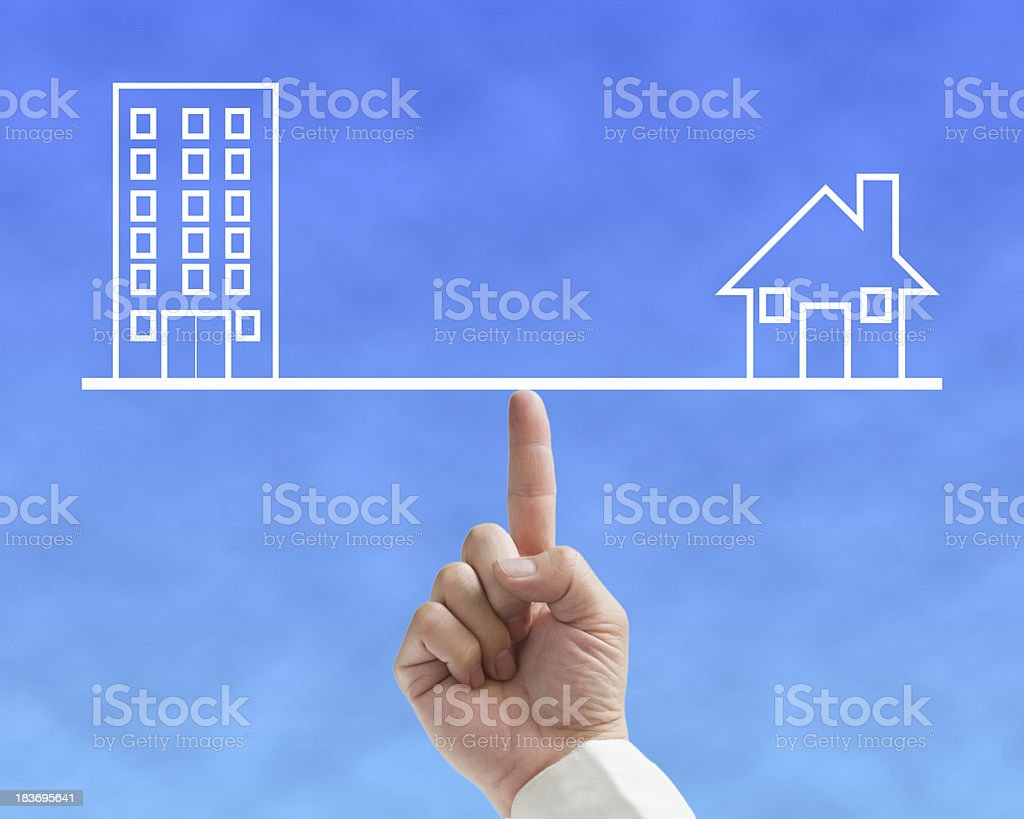 Home and office balance concept with businessman stock photo