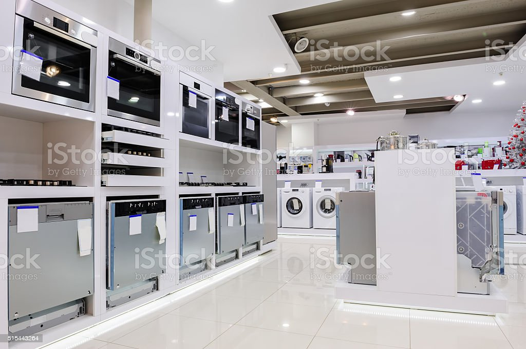 Home appliance in the store stock photo