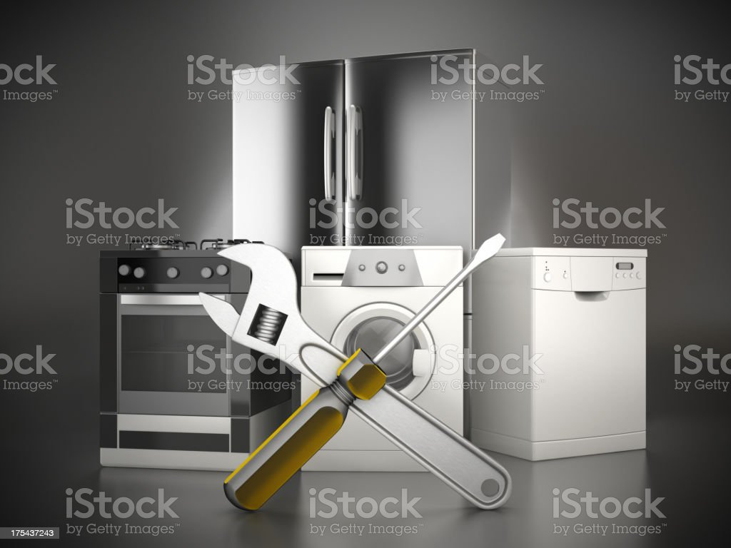 Home appliance repair stock photo