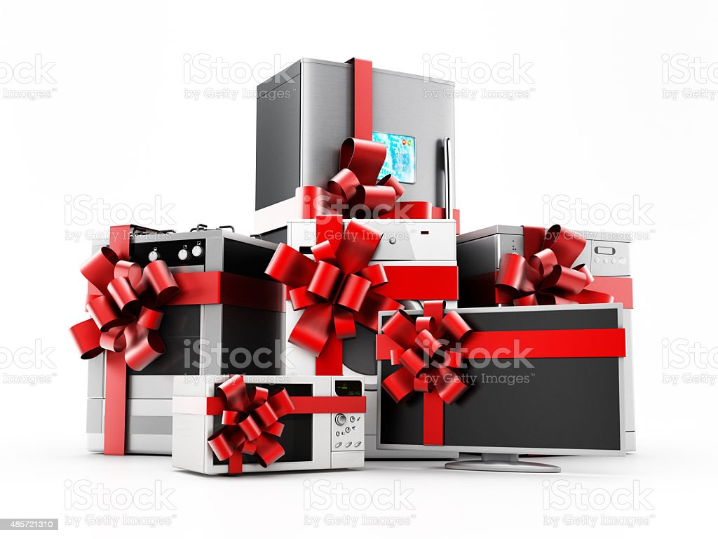 Home appliance set wrapped with ribbons stock photo