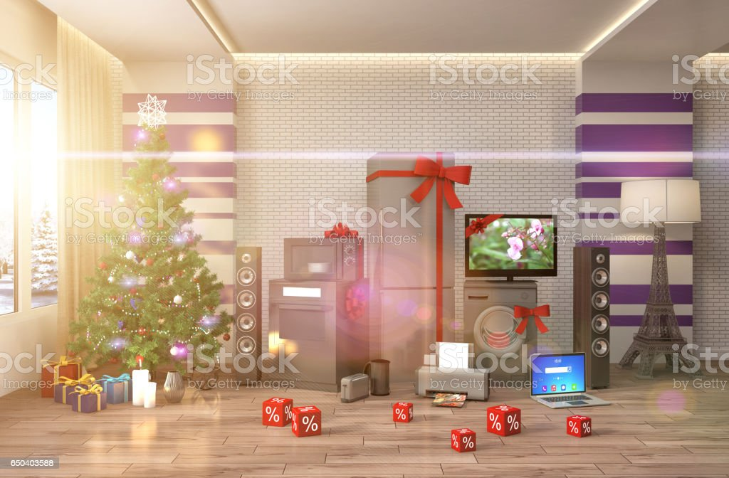 Home appliance with ribbons and discounts in interior. 3D Illustration stock photo