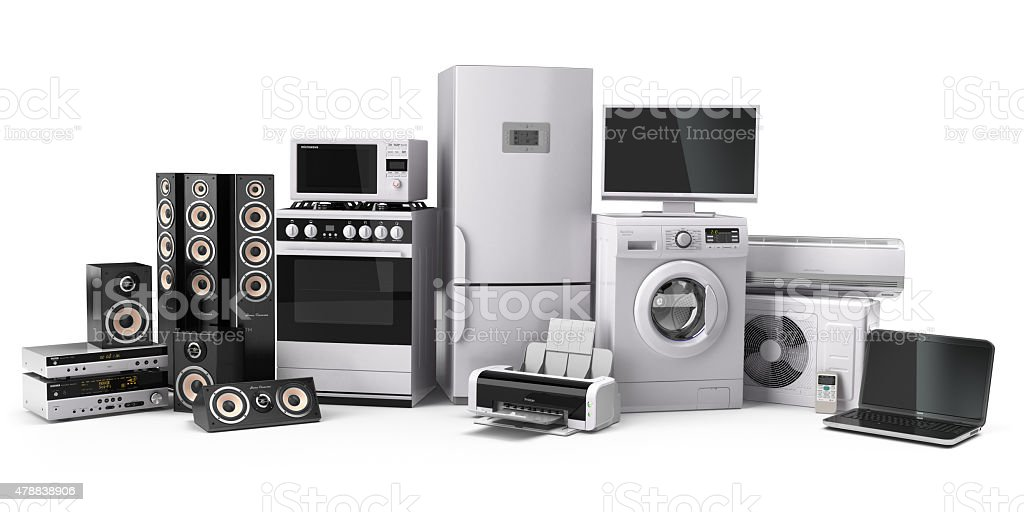 Home appliances. Gas cooker, tv cinema, refrigerator air conditi stock photo
