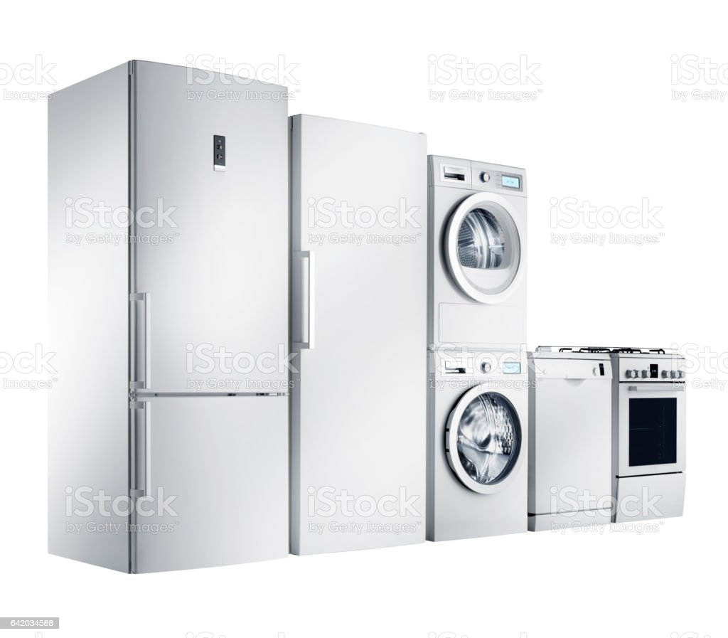 Home appliances group (isolated with clipping path) stock photo