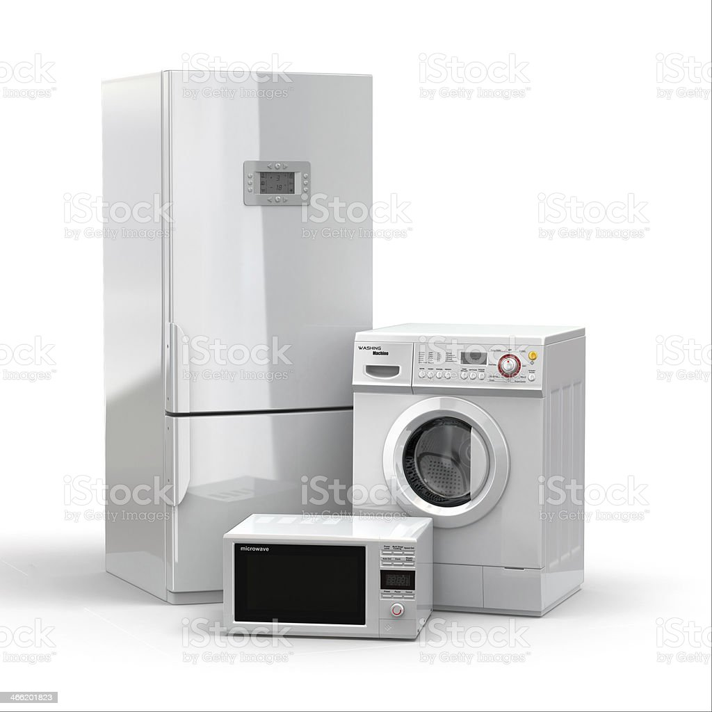 Home appliances. Refrigerator, microwave and  washing maching. stock photo