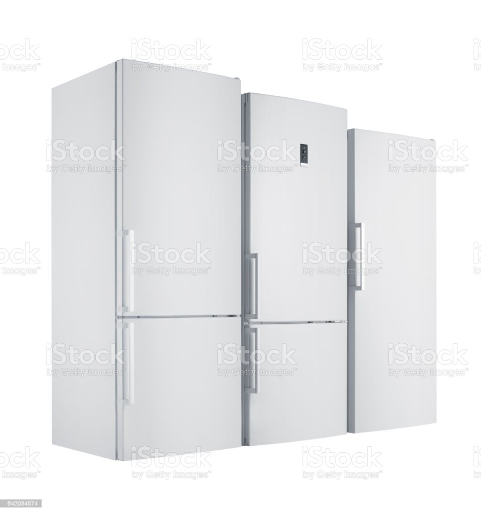Home appliances Refrigerators group (isolated with clipping path) stock photo
