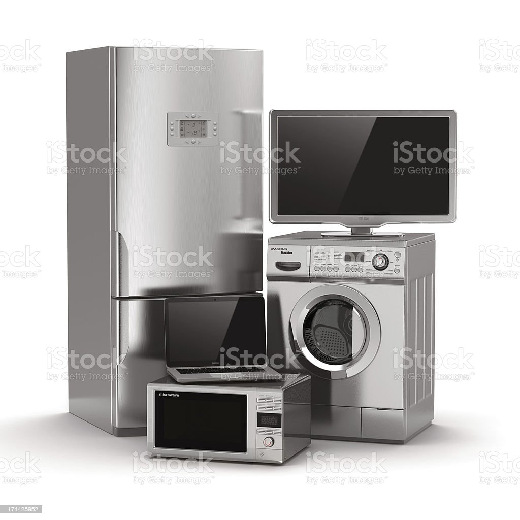 Home appliances. Tv, refrigerator, microwave, laptop and  washin stock photo