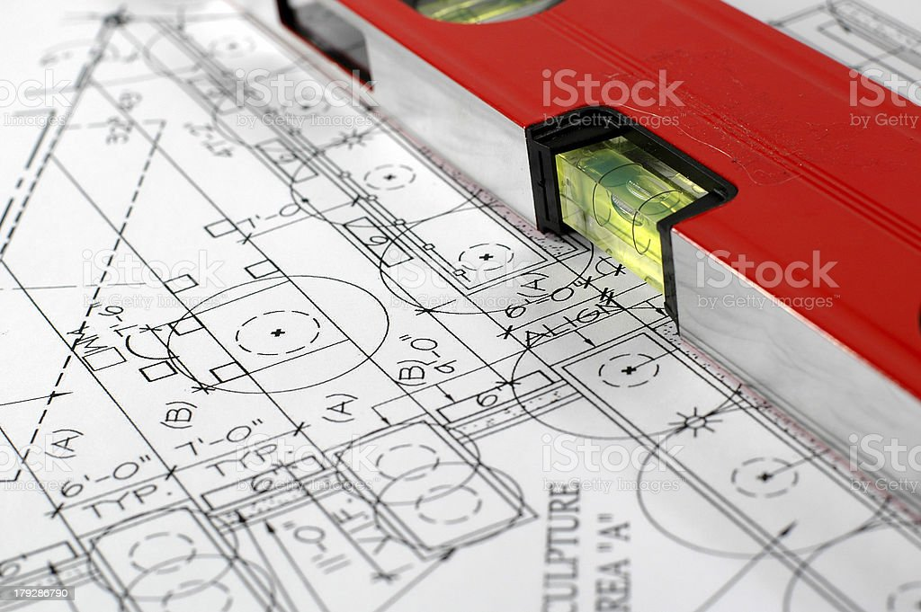 home architectural plans and water level royalty-free stock photo