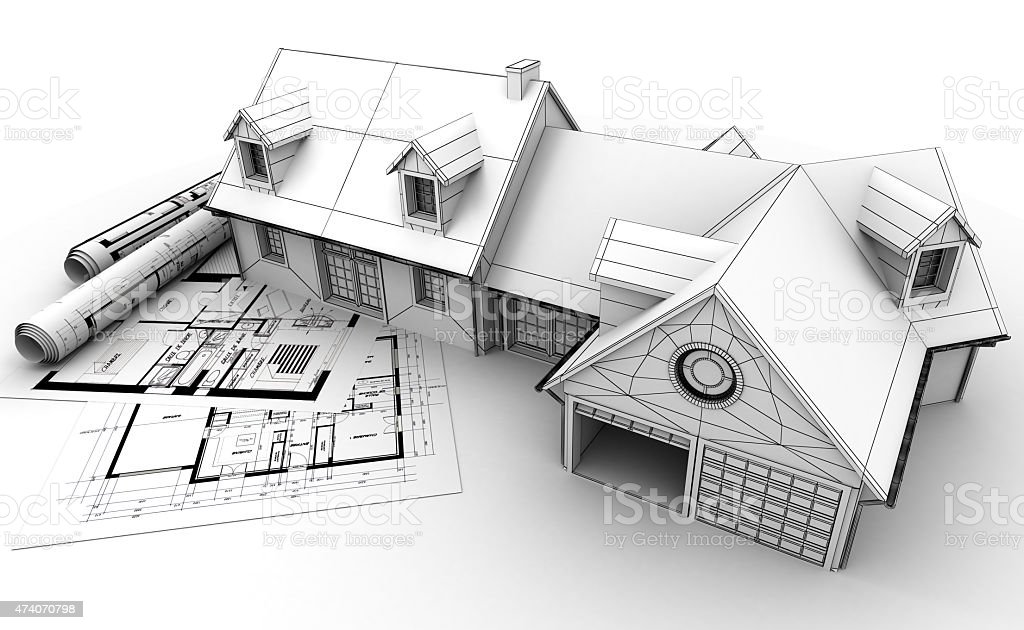 Home architecture project completion stock photo