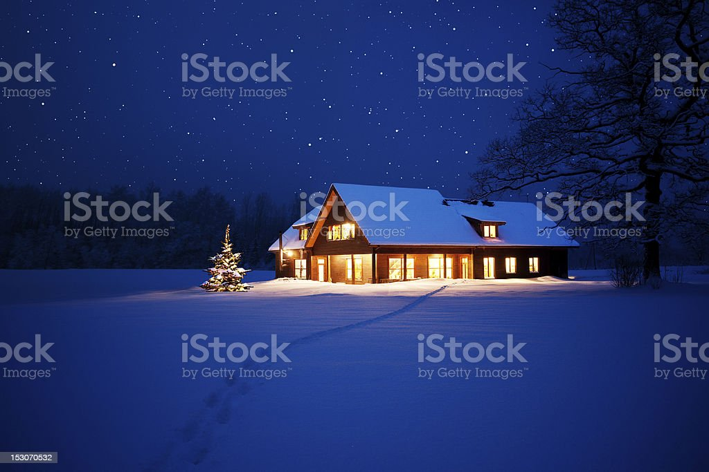 Home at christmas stock photo
