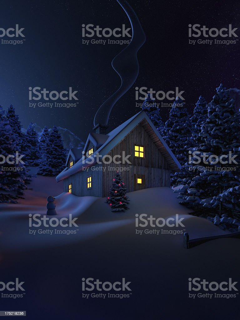 Home at christmas royalty-free stock vector art