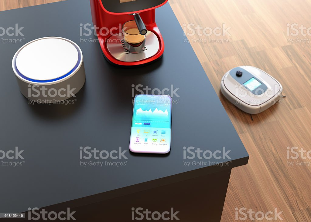 Home automation control by smart phone stock photo