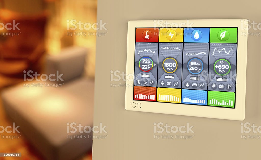Home automation: controlling house temperature, water, energy levels stock photo