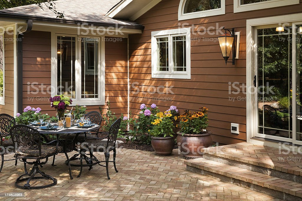 Home backyard patio recently remodeled. stock photo
