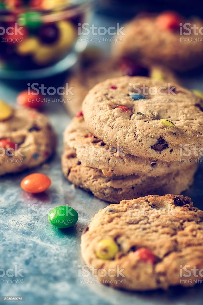 Home Baked Cookies with Chocolate Candies stock photo
