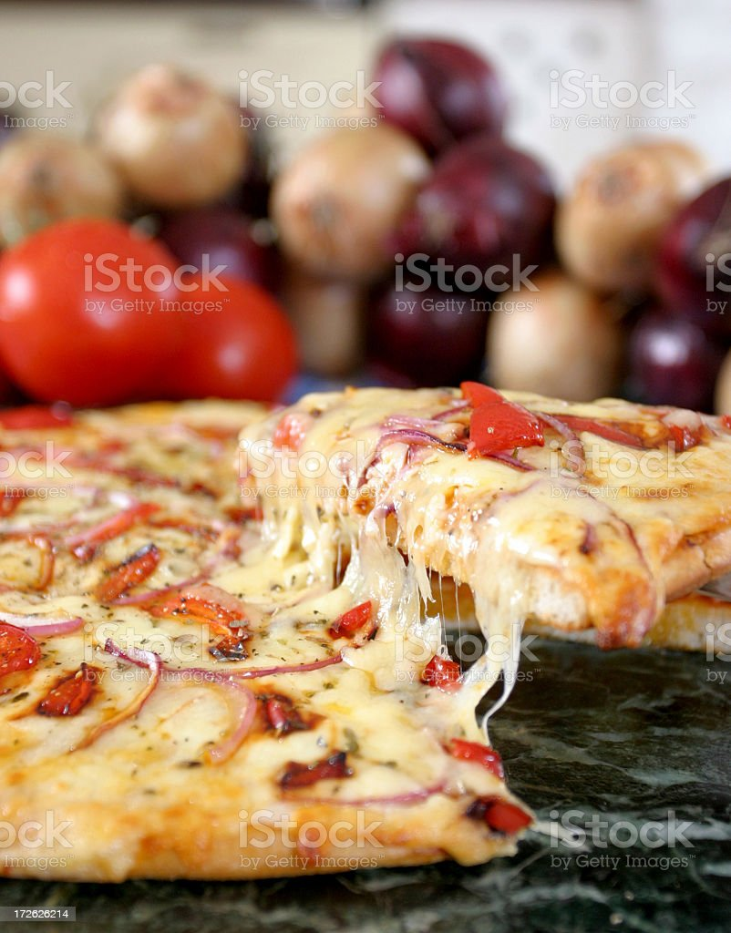 Home baked organic pizza stock photo