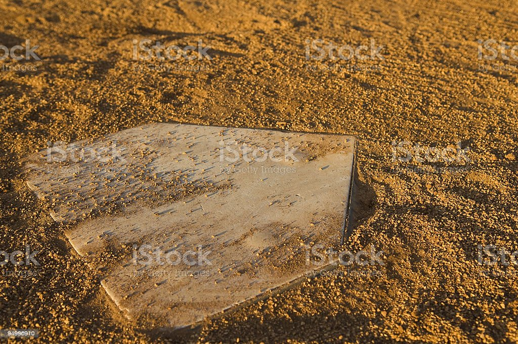 Home Base on a Baseball Field at Baseball Game royalty-free stock photo