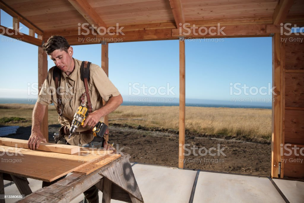 Home Building - Drilling stock photo