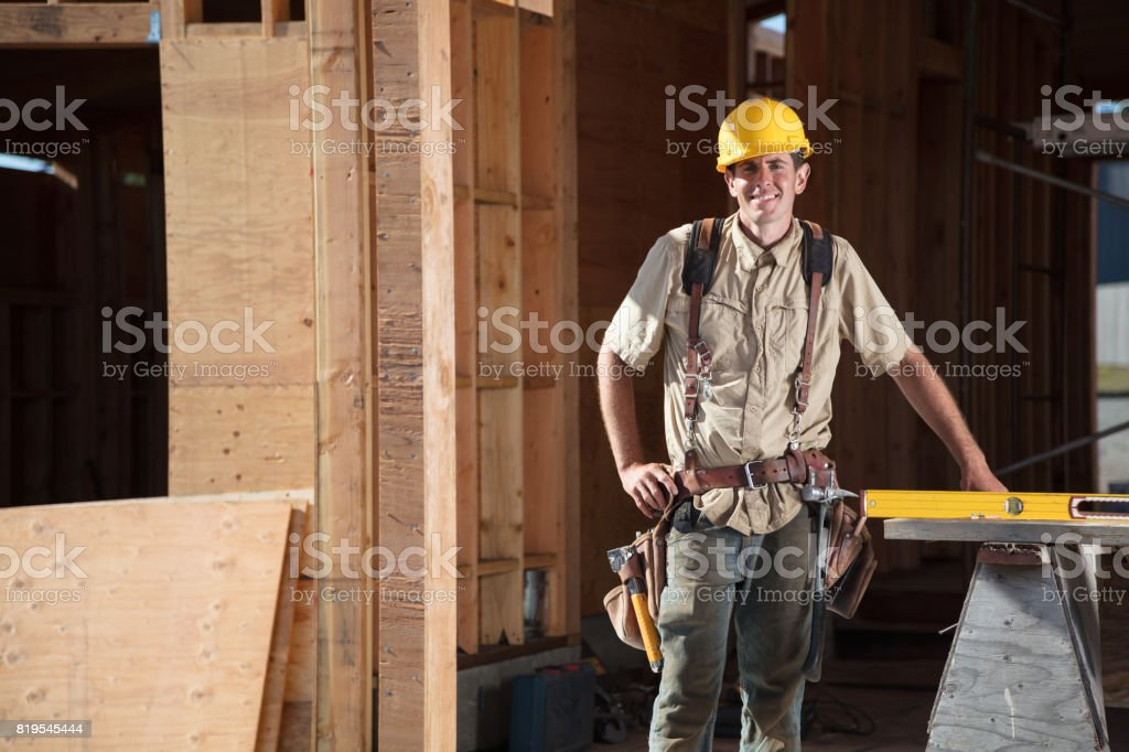 Home Building - Looking at Camera stock photo