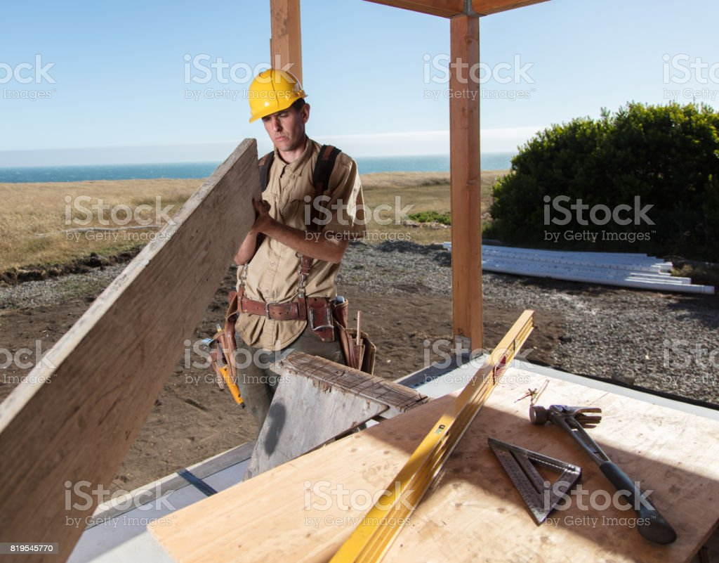 Home Building - Straight wood stock photo