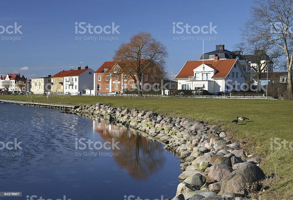 Home by the water stock photo