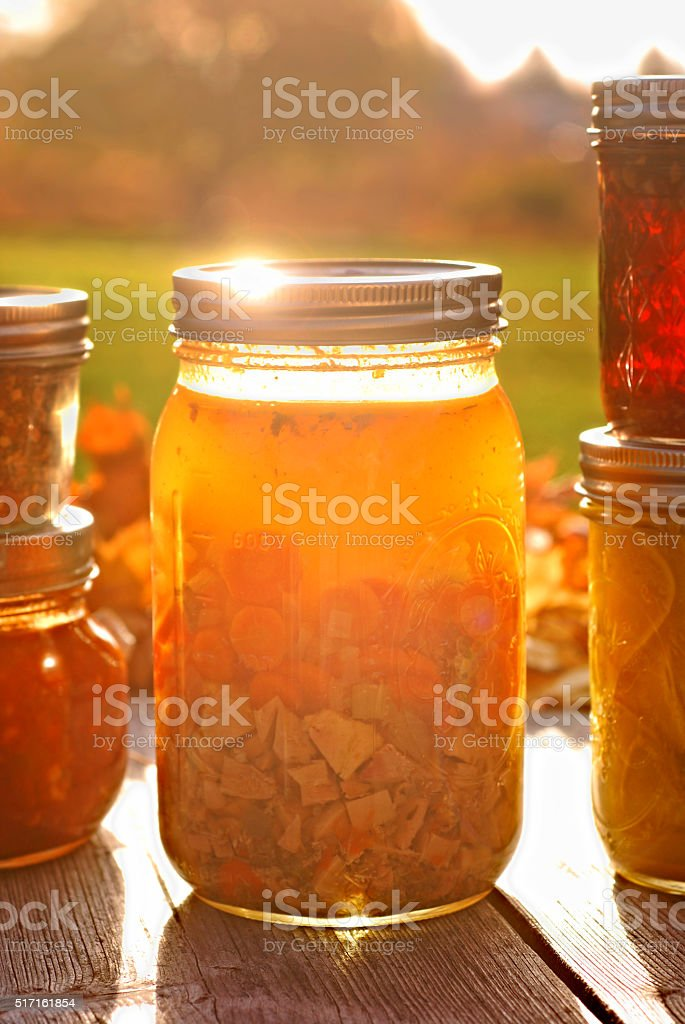 Home Canned Chicken Soup stock photo