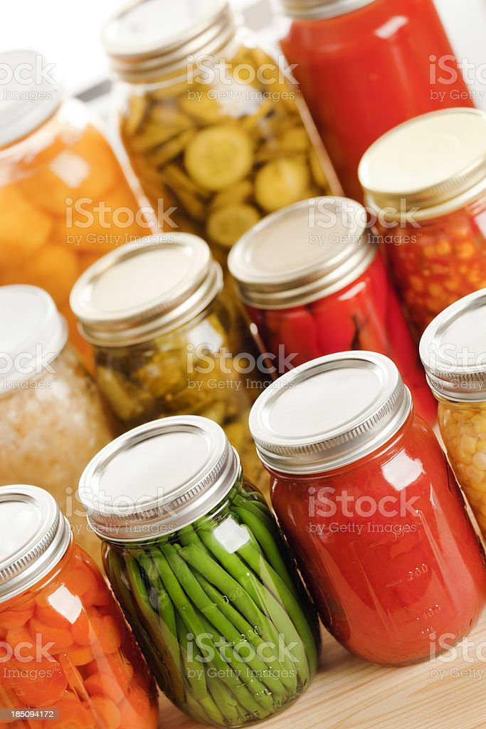 Home Canning Display of Summer Vegetables Vt stock photo