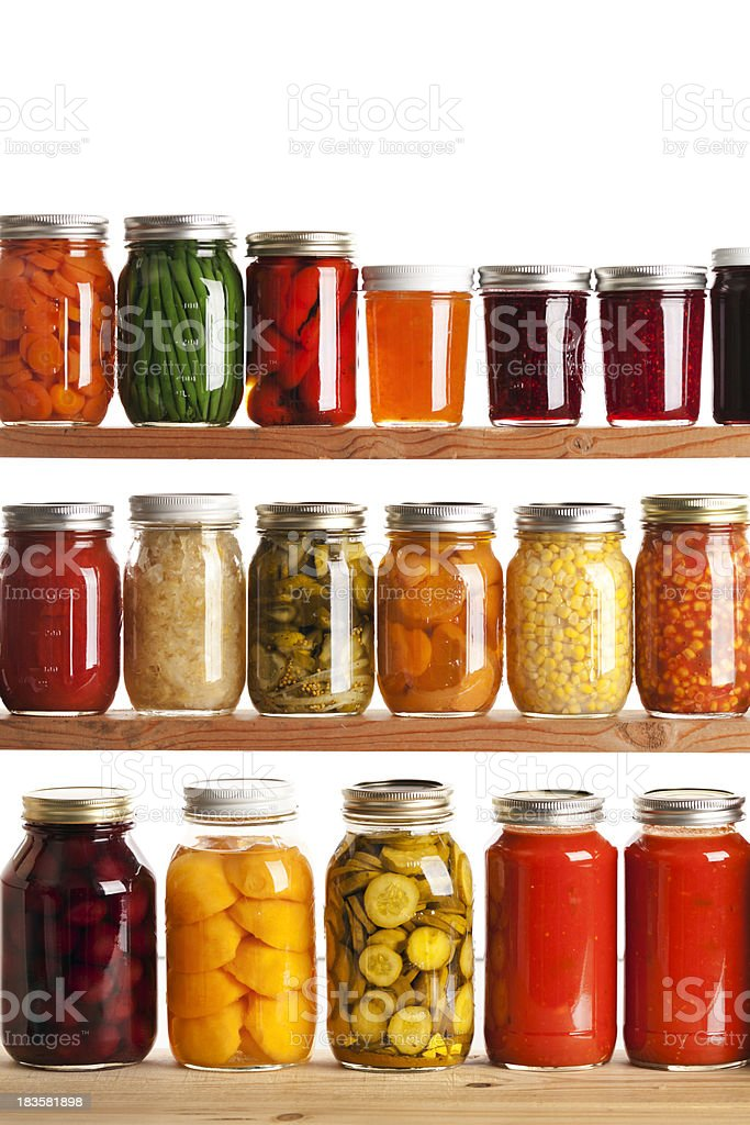 Home Canning Jars for Preserving Fall Harvest Vegetables and Fruits stock photo