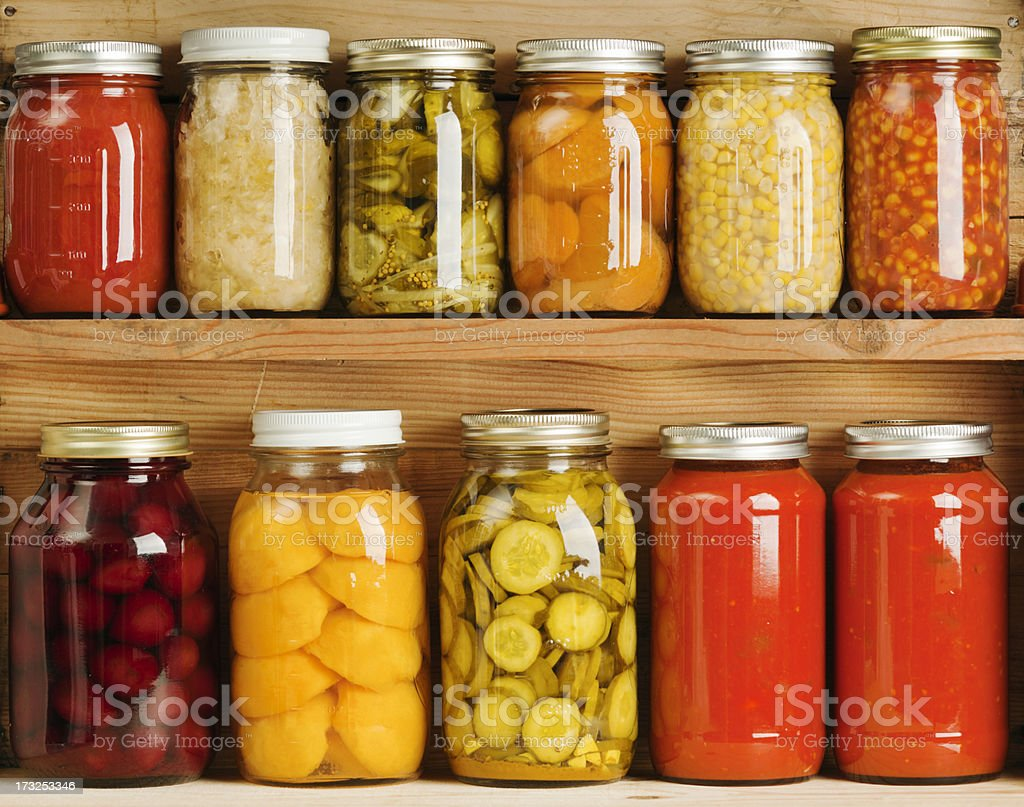 Home Canning of Summer Vegetables on Wooden Shelves Hz stock photo