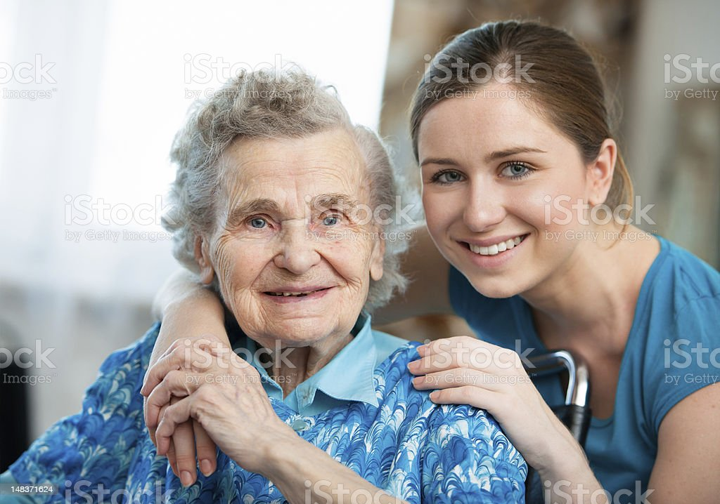 Home care of the elderly women royalty-free stock photo