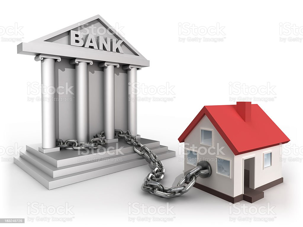 Home chained to bank - isolated with clipping path stock photo