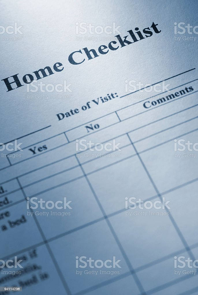 Home checklist royalty-free stock photo