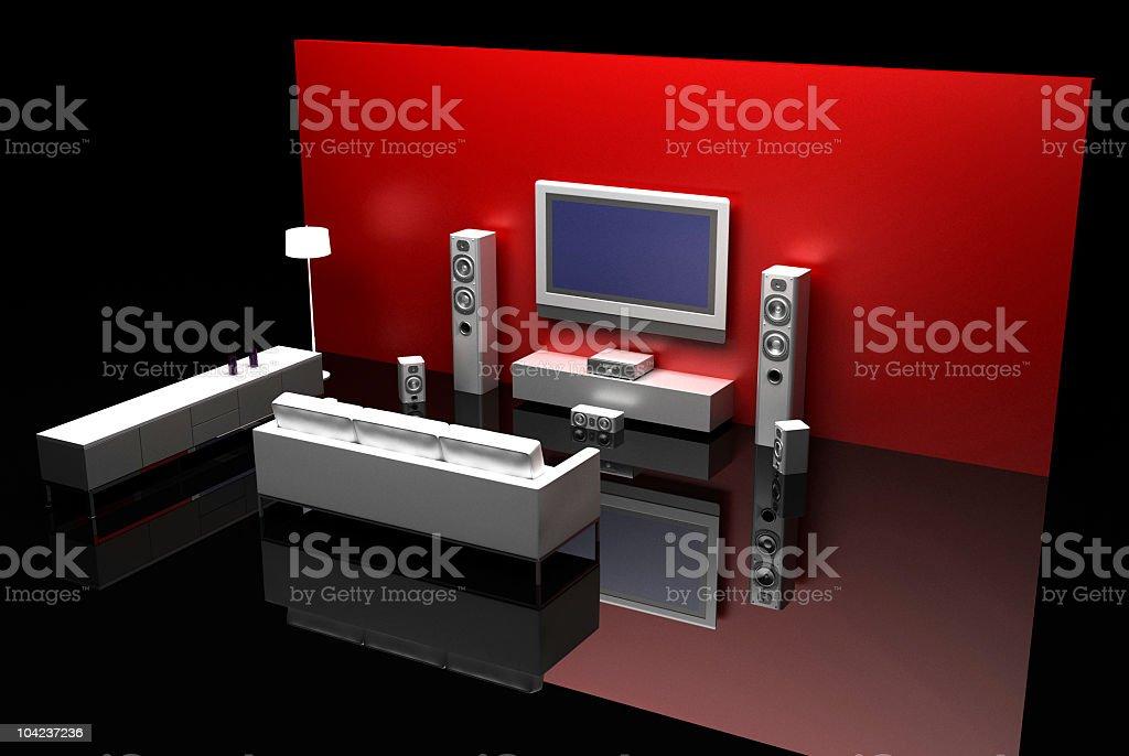 Home Cinema (corner with furniture) royalty-free stock photo