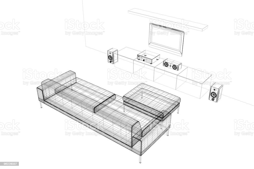Home cinema (wire-frame, on white) royalty-free stock photo