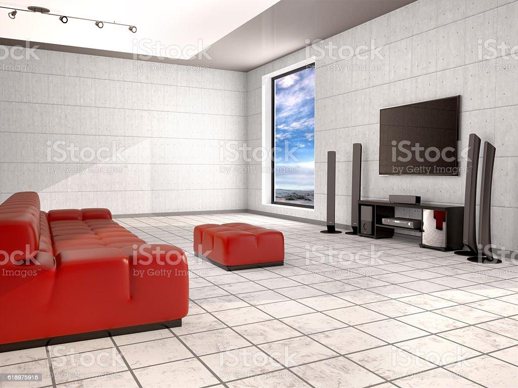 Home cinema room with red sofa. stock photo