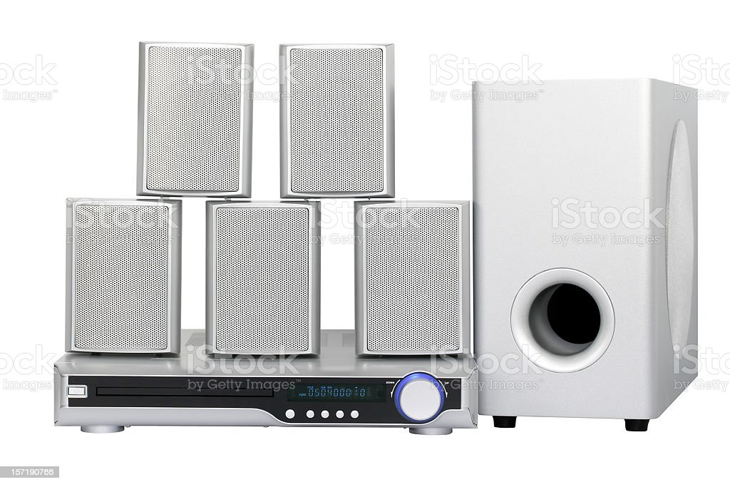 DVD Home Cinema System (clipping path), isolated on white background royalty-free stock photo