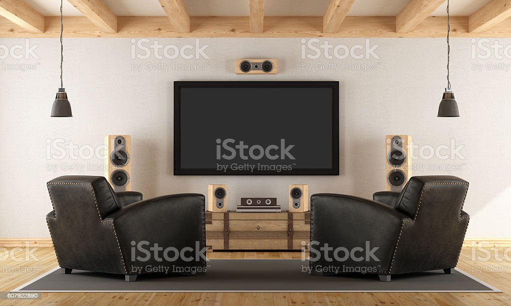 Home cinema system with vintage furniture stock photo