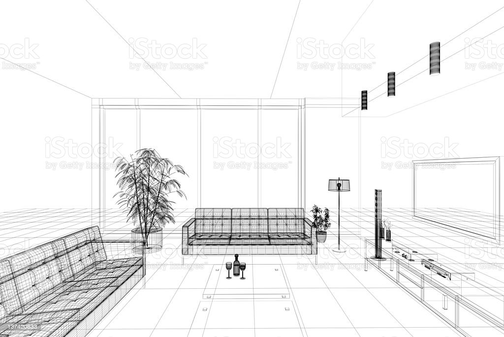 Home cinema: wireframe technical view (on white) royalty-free stock photo