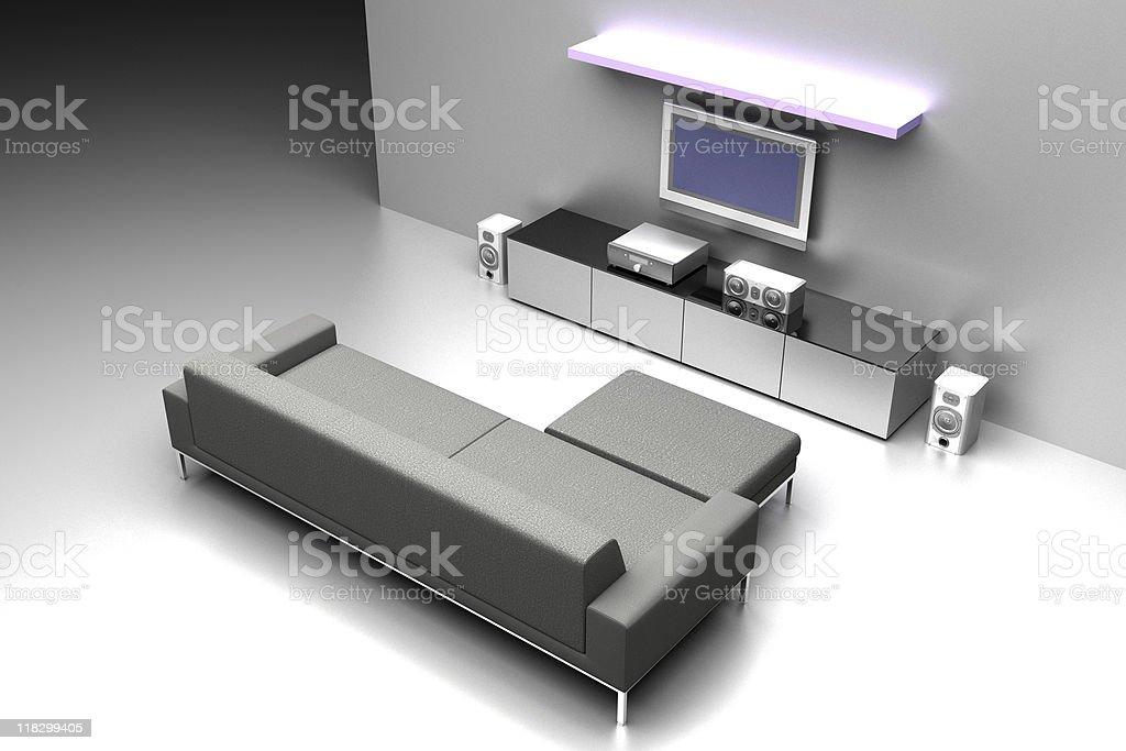 Home cinema with stylish furniture stock photo