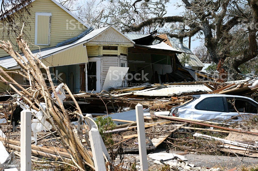A home completely destroyed by Hurricane Katrina royalty-free stock photo