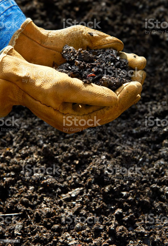 Home Composting, Hand holding compost soil royalty-free stock photo