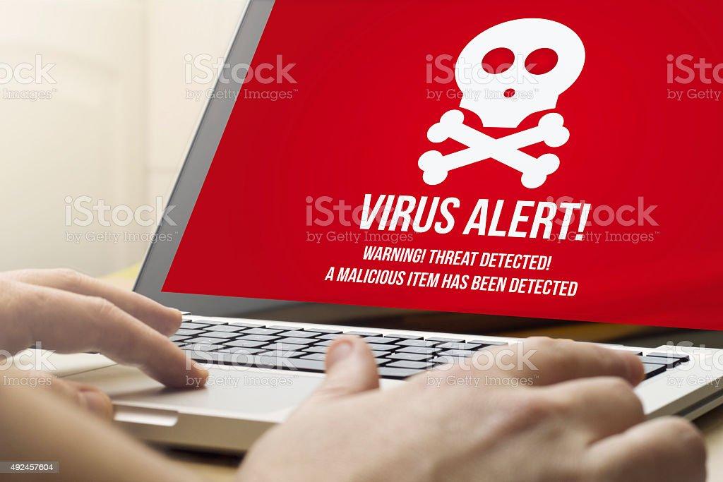home computing  virus alert stock photo