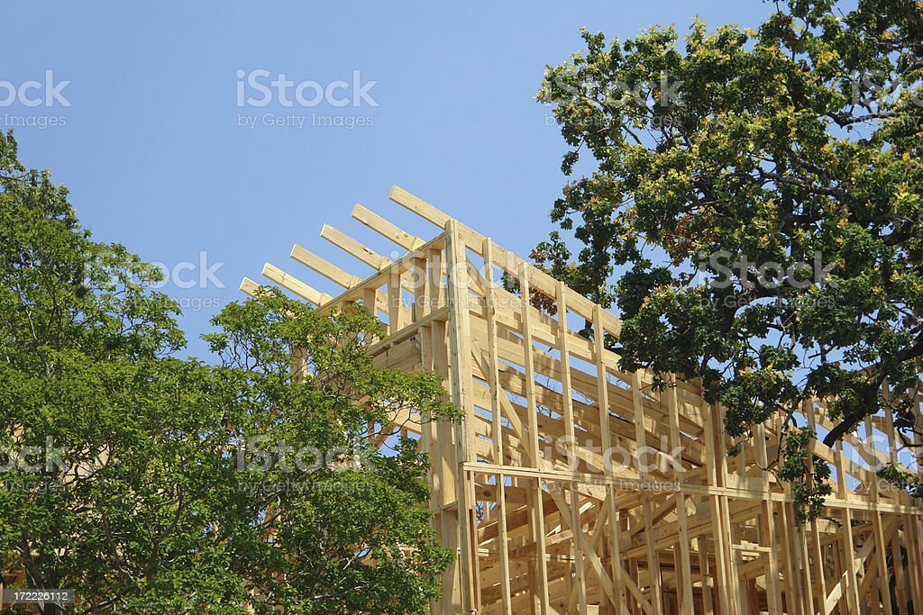 Home construction among trees royalty-free stock photo