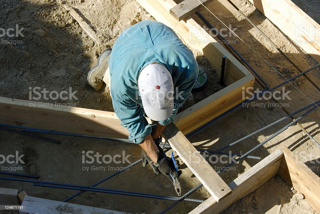Home Construction Diary - Preparing the Footings For Cement stock photo
