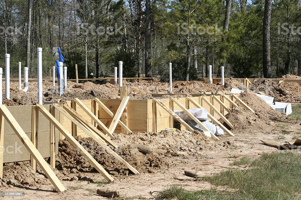 Home Construction - Forms Ready for Slab royalty-free stock photo