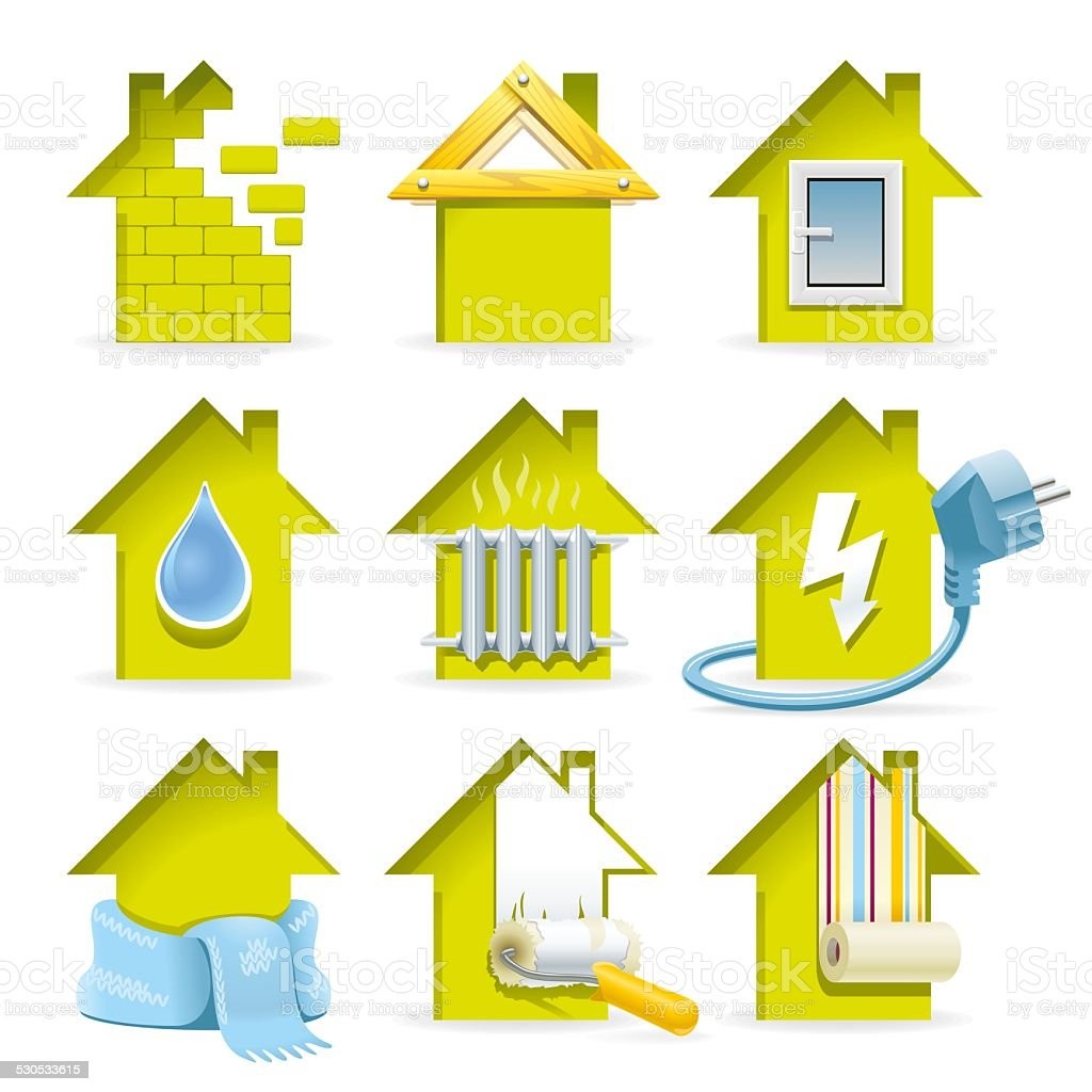 Home Construction Icons stock photo