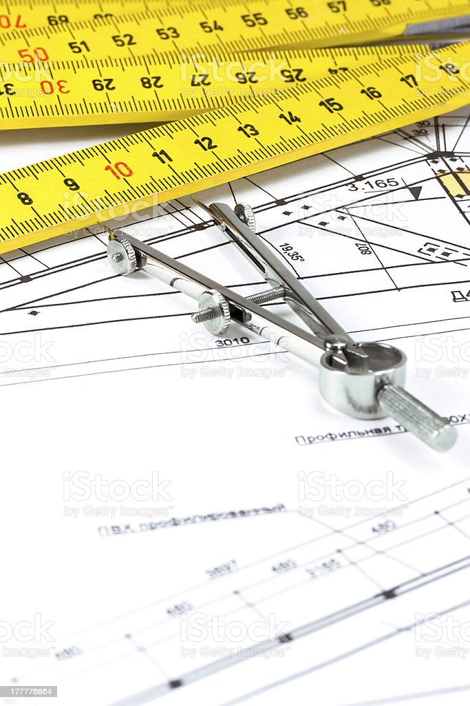Home construction plan stock photo
