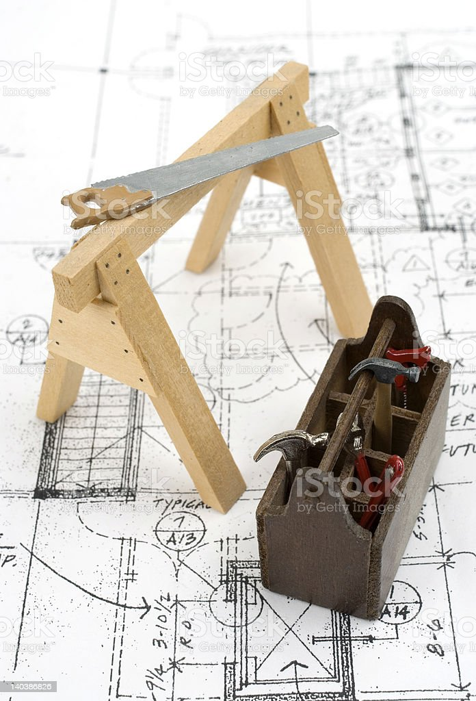 Home construction tools with house plans. stock photo