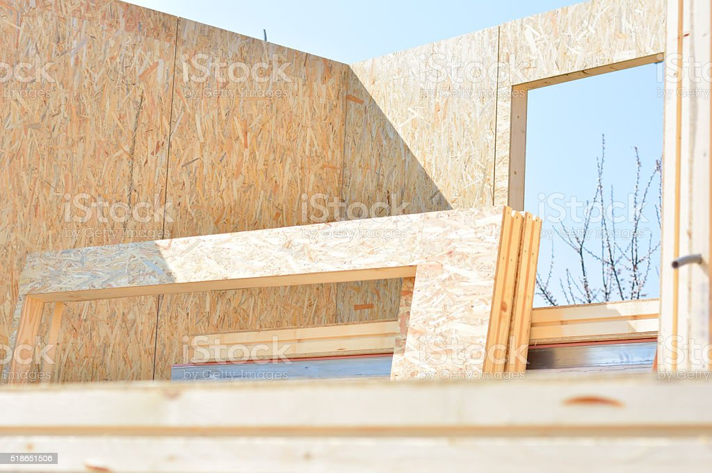 Home Construction with wood Framing and Windows stock photo