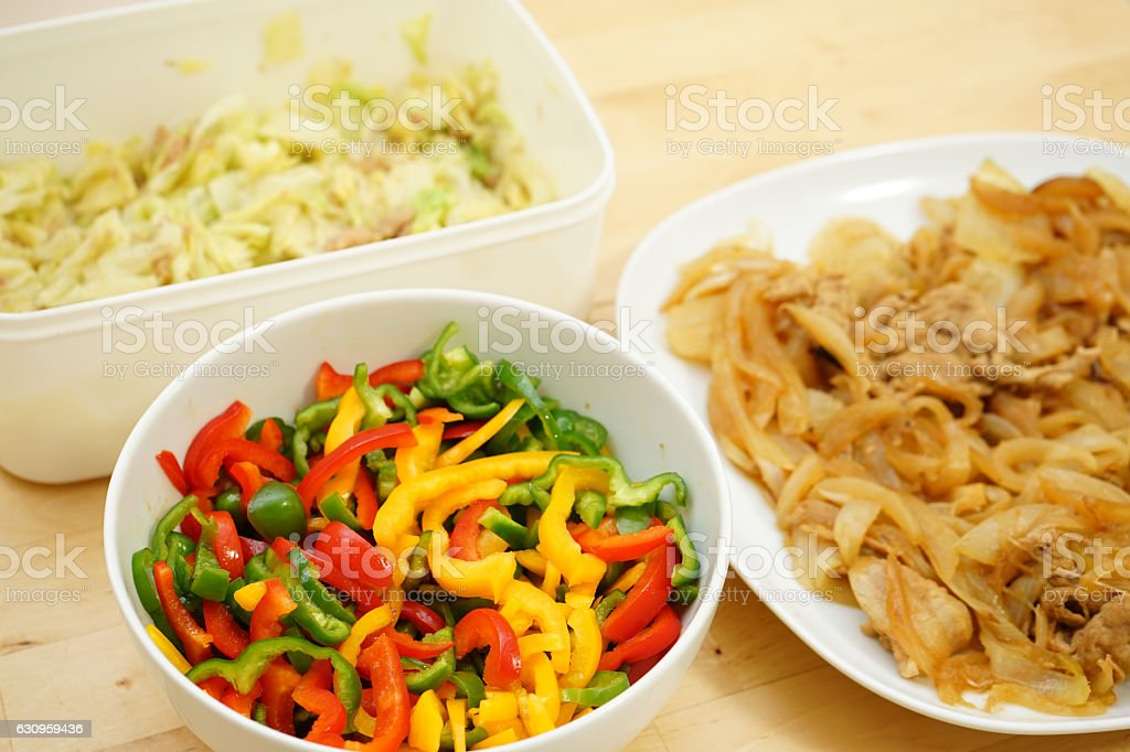 Home cooked organic foods for lunch box stock photo