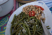 Home cooking. Antipasto - French green and white bean salad.